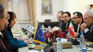 Catherine Ashton talks to Iranian officials, including Mohammad Javad Zarif, in Tehran