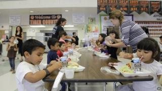 Students eat lunch at a predominantly Latino primary school in California