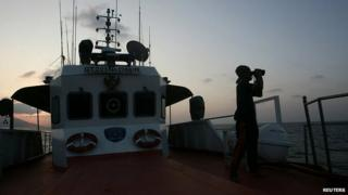 Search and rescue ship in the Straits of Malacca. 14 March 2014