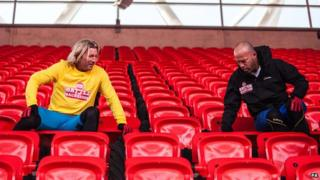 Robbie Savage and Alan Shearer undertake Sports Relief Wembley seat challenge