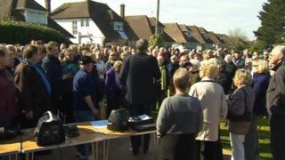 Protesters in Ferring