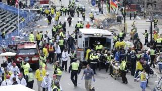 Boston marathon bombing, April 2013