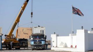Shipping containers at British base in Afghanistan