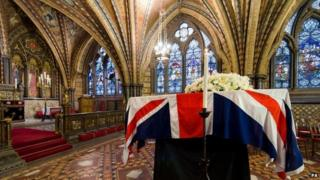 The coffin of Baroness Thatcher rested overnight in the crypt of the chapel of St Mary Undercroft