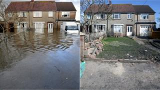 Two comparison photos showing how water has receded from flooded properties in the village of Moorland, Somerset
