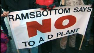 Banner protesting at plans for anaerobic digester (AD) in Bury