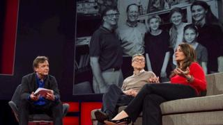 Bill and Melinda Gates being interviewed by Chris Anderson