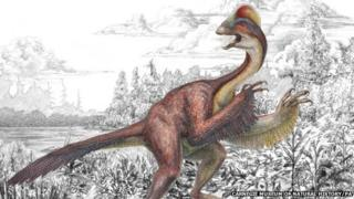 A bird-like dinosaur. It has a feathered tail and wings. Its feathers are predominantly red.
