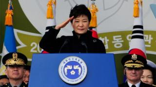 South Korean President Park Geun-hye speaks during a military commissioning ceremony at Gyeryongdae, South Korea's main military compound on 6 March 2014 in Gyeryong, South Korea
