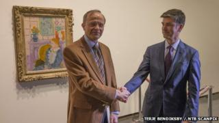Henie Onstad Museum Chairman Halvor Stenstadvold with representative of the Rosenberg family Christopher A. Marinello, Director of Art Recovery International
