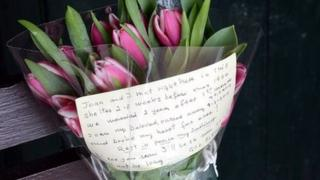 love not left by a widower at a bus stop in Neath