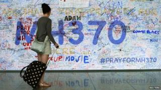 Messages for flight MH370 at Kuala Lumpur International Airport