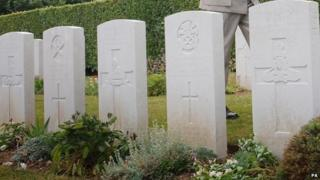 War graves at a cemetery in France