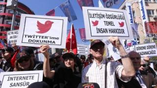 Protesters hold placards against the Twitter ban in Ankara