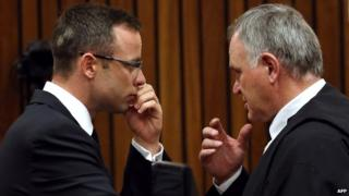 Oscar Pistorius (L) 19 March