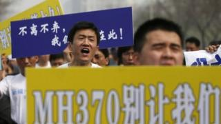 Some relatives of the passengers protested in front of the Malaysian embassy in Beijing