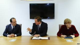 Francois Hollande, David Cameron and Angela Merkel 6 March