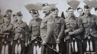 Sergeant Major William Ross with unidentified soldiers