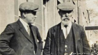 Private John McFarlane, who was killed at the battle of Festubert, with his father Thomas McFarlane, who built the Portree War Memorial