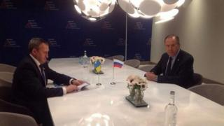Russia's foreign ministry released this image of Sergei Lavrov meeting with Ukraine's Andriy Deshchytsia