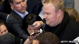 Kim Dotcom interviewed by reporters
