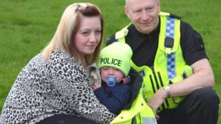 Ruth Travis, baby Harry and PC Tony Morton