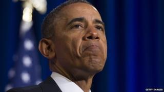US President Barack Obama pauses during a speech on NSA surveillance on 17 January, 2014.