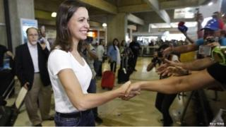 Maria Corina Machado back in Caracas