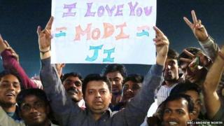Modi supporters at Delhi rally, 26 March 2014