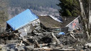 A damaged house in Oso, Washington, that was hit by the landslide