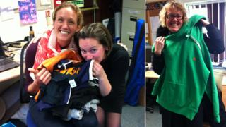 Suffolk Family Carers with clothes given by Ed Sheeran
