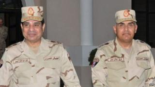 Field Marshal Abdul Fattah al-Sisi and Gen Sedki Sobhi (file)
