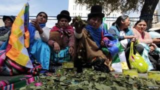 Bolivia coca leaves producers in La Paz 12 March 2014