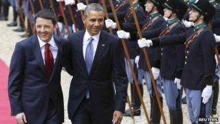 Italian PM Matteo Renzi and US President Barack Obama