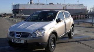 The first Nissan Qashqai car leaving Tyne Dock for export to Japan