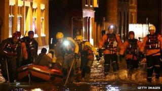 Rescue teams in Boston
