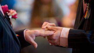 Men exchanging wedding rings