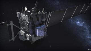 Rosetta and Philae (in blue)