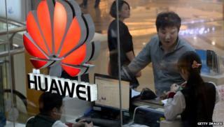 Huawei logo with people