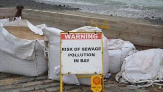 Sign at Guernsey's Belle Greve Bay