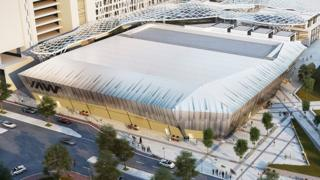 An artist's impression of the ice rink from the outside