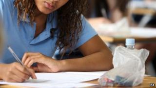 Girl taking GCSE exam