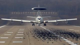 Nato Airborne Warning and Control Systems aircraft in Geilenkirchen near German-Dutch border. 2 April 2014