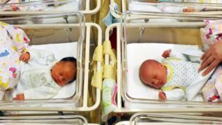 Babies in a German nursery.
