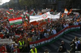 A march in support of Hungarian Prime Minister Viktor Orban's ruling Fidesz party in Budapest, 29 March
