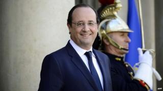Francois Hollande outside the Elysee presidential palace in Paris - 1 April 2014