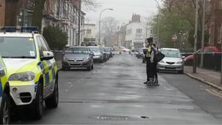 Police in Saxby Street in Leicester