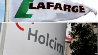 This combination of files pictures made on 04/04/14 shows a Lafarge flag and Holcim logo