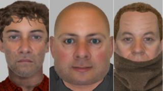 E-fits of thee men police want to speak to over the fatal stabbing of James Attfield