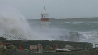 Storm-damaged wall Castletown